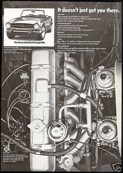 Triumph TR-6 TR6 Car & Engine Photo Vintage (1974)