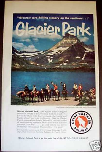 Glacier Park On Horses Great Northern Railway (1956)
