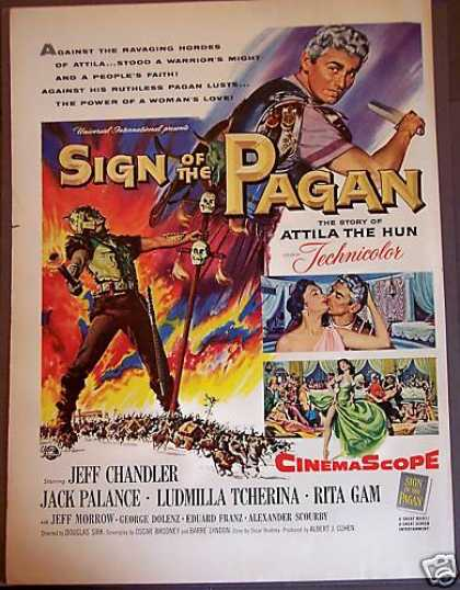 Movie Promo Ad Sign of the Pagan Jack Palance (1954)