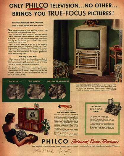 Philco's Model 2130-L – Only Philco Television... No Other... Brings You True-Focus Pictures (1951)
