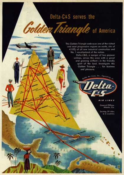 Delta C & S Air Lines – Delta-C&S serves the Golden Triangle of America (1953)