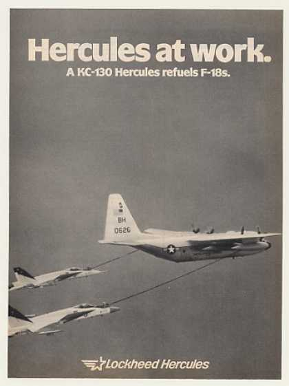 Lockheed KC-130 Hercules Refuels F-18s Photo (1983)