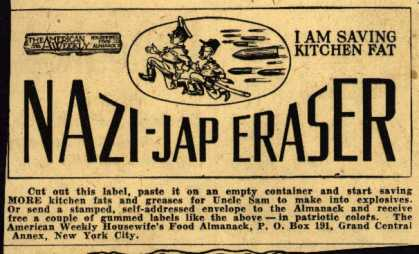 American Weekly&#8217;s Kitchen Fats &#8211; Nazi-Jap Eraser (1943)