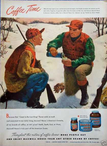 Maxwell House Coffee Hunters Rifles Break Snow (1948)