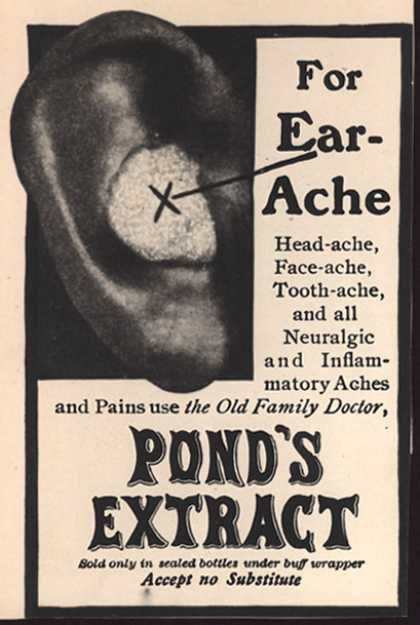 Pond's Extract Co.'s Pond's Extract – For Ear-Ache (1905)