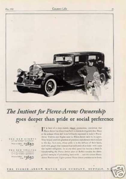 "Pierce-arrow Car Ad ""The Instinct For... (1932)"