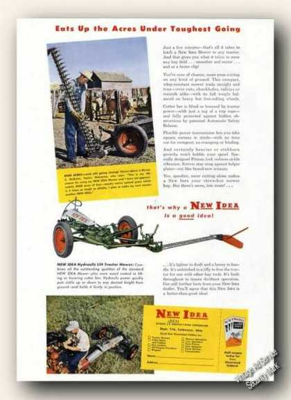 New Idea Tractor Mowers Farm Advertising (1951)