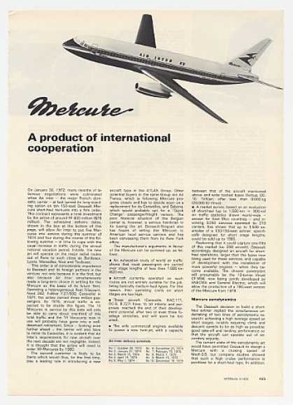 Dassault Mercure Twin-Jet 5-Page Photo Article (1972)