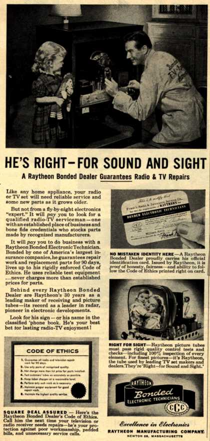 Raytheon Manufacturing Company's Various – He's Right-For Sound and Sight A Raytheon Bonded Dealer Guarantees Radio & TV Repairs (1953)