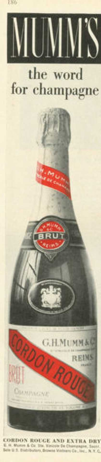 Mumm's Cordon Rouge Champagne Bottle (1961)