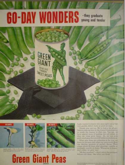 Green Giant Brand Peas 60 day wonders (1951)