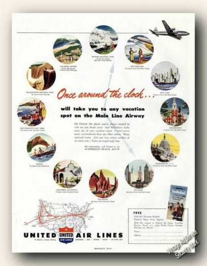 United Air Lines Travel Ad With Route Map (1949)