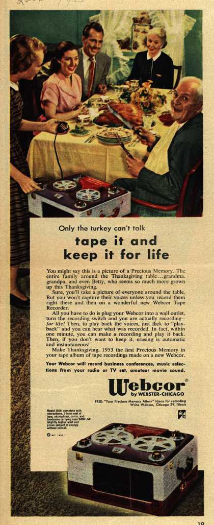 Webcor by Webster-Chicago's Tape Recorder – Only the Turkey Can't Talk. Tape it and Keep it for Life. (1953)