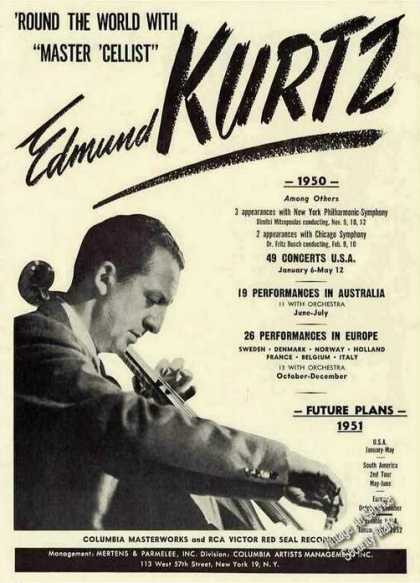 "Edmund Kurtz ""Master Cellist"" Booking (1951)"