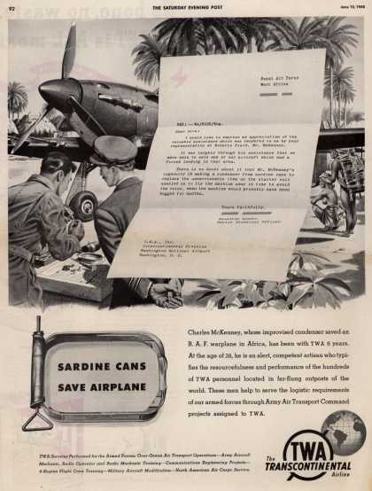 Trans World Airline – SARDINE CANS SAVE AIRPLANE (1943)