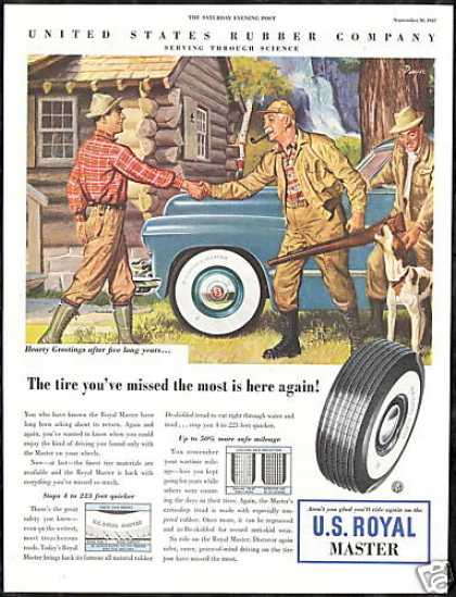 Hunter Hunting Cabin Dog U.S Royal Tire (1947)