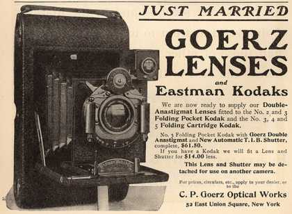 Kodak &#8211; Just Married Goerz Lenses and Eastman Kodaks (1901)