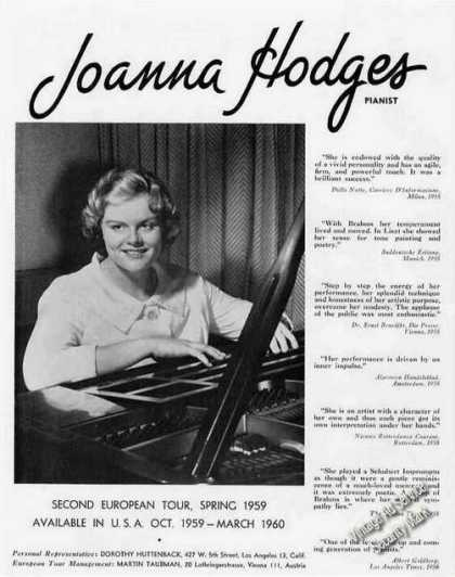 Joanna Hodges Photo Pianist Booking (1959)