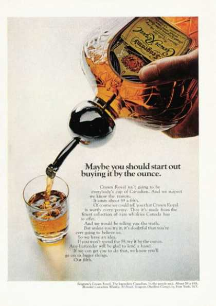 Seagram's Crown Royal Whisky Purple Sack (1968)
