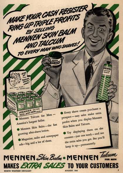 Mennen – Make Your Cash Register Ring UP Triple Profits By Selling Mennen Skin Balm And Talcum To Every Man Who Shaves (1945)