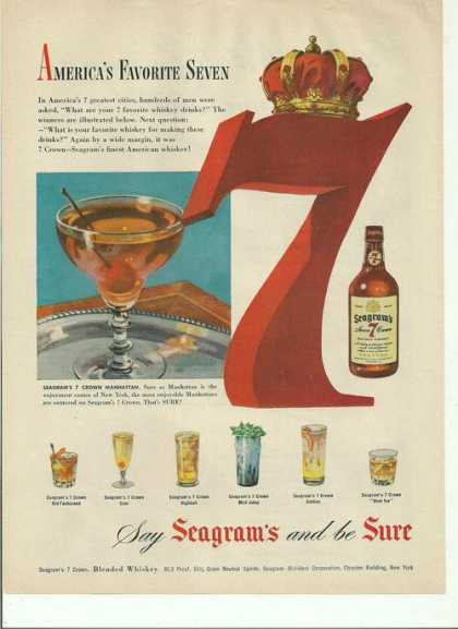 Seagrams and Be Sure Whiskey (1950)