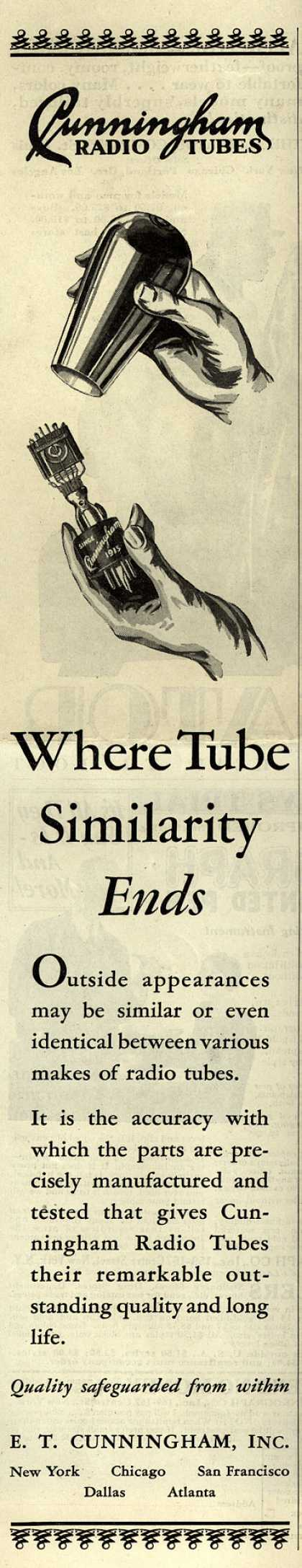 E.T. Cunningham's Radio Tubes – Where Tube Similarity Ends (1929)