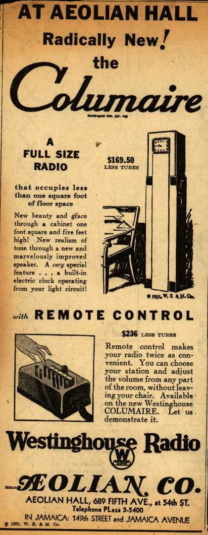 Westinghouse Radio's Columaire Radio – At Aeolian Hall: Radically New! The Columaire (1931)