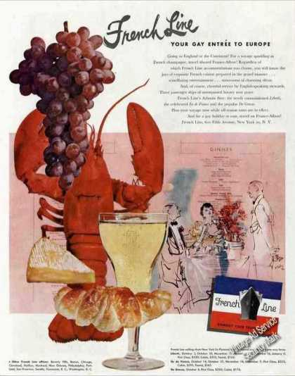 French Line Your Gay Entree To Europe Lobster (1950)