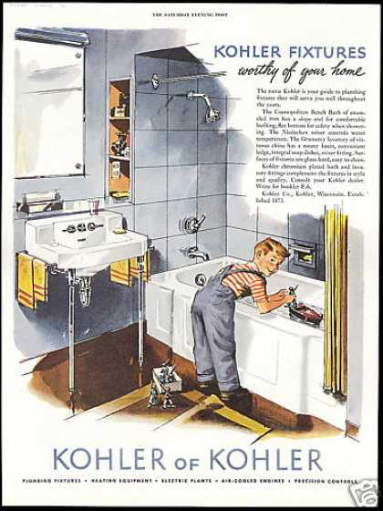 Kohler Bathroom Plumbing Fixture Boy Tub (1952)