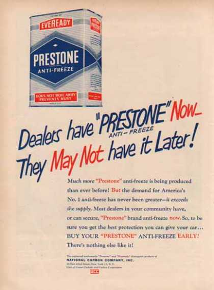 Prestone Anti Freeze – Dealers have Prestone Now (1949)