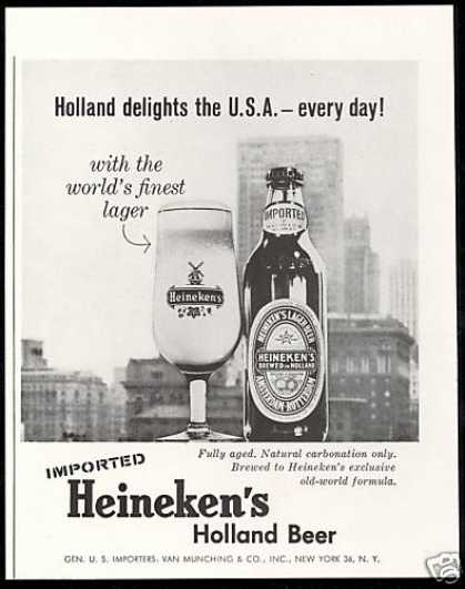 Heineken's Holland Beer USA Worlds Finest (1959)