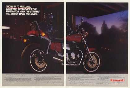 Kawasaki Eliminator Motorcycle Taking To Limit (1985)