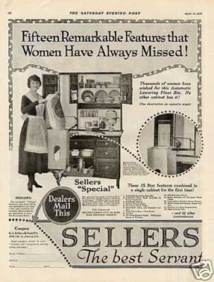 Sellers Kitchen Cabinet Ad 2 Page (1918)