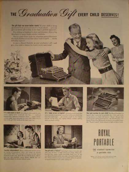 Royal Portable Typewriter Graduation gift (1946)