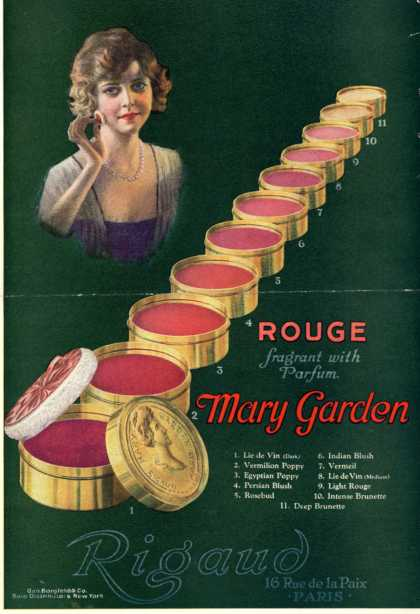Rigaud's rouges – Rouge fragrant with Parfum Mary Garden (1920)