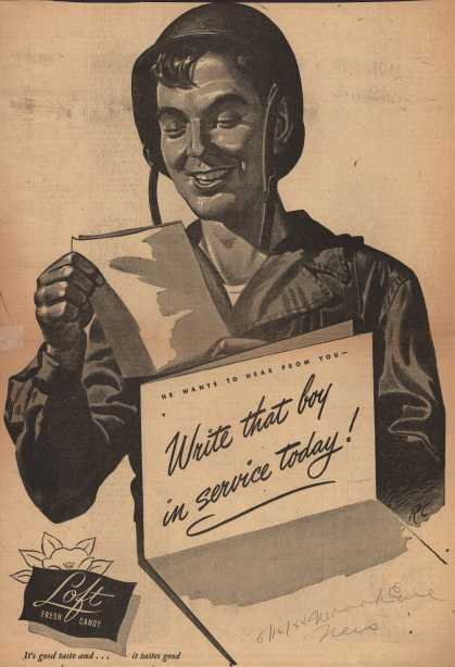 Loft Fresh Candy's V-Mail – Write that boy in service today (1944)