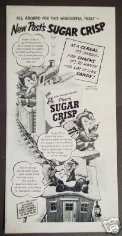 Sugar Crisp Bear Rides the Train Cereal Cartoon (1951)