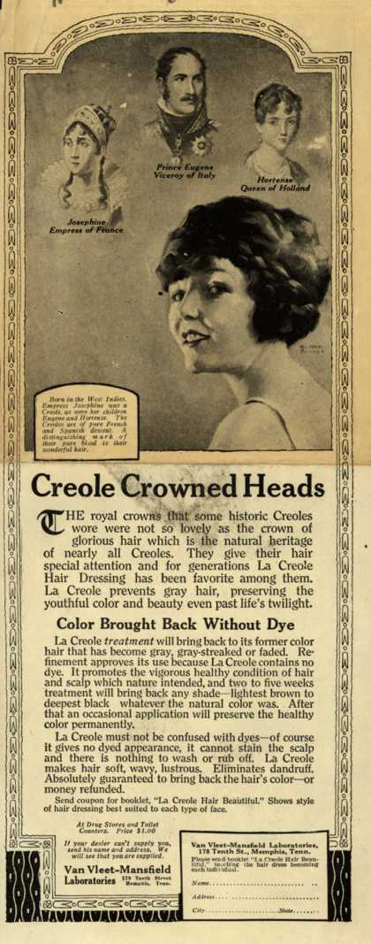 Van Vleet-Mansfield Laboratorie's La Creole Hair Dressing – Creole Crowned Heads (1919)