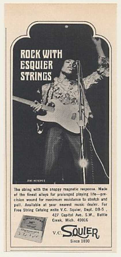 Jimi Hendrix Esquier Guitar Strings Photo (1968)