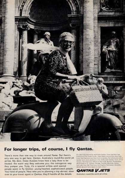 Quantas V Jets Airplane Treve Fountain (1964)