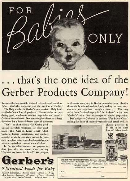 Gerber Products Company's Gerber Strained Foods for Baby – For Babies Only (1934)