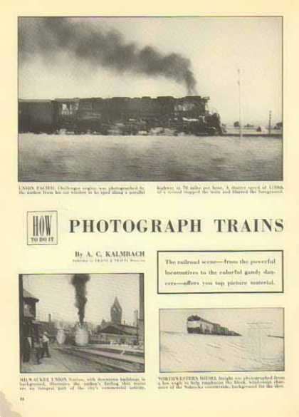 Trains Magazine Article – Photos by A.C. Kalmbach (1952)