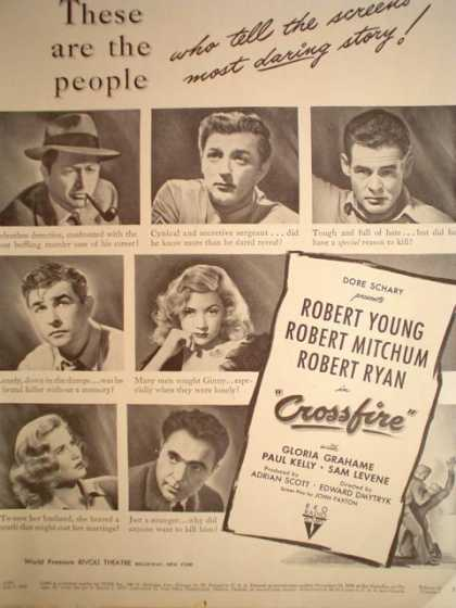 Movie Crossfire Robert Mitchum Young and Ryan (1947)