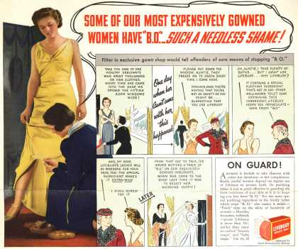 "Lever Brothers Company's Lifebuoy Health Soap – Some Of Our Most Expensively Gowned Women Have ""B.O."" Such A Needless Shame (1937)"