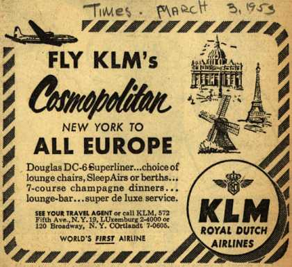 KLM Royal Dutch Airline's New York to Europe – Fly KLM's Cosmopolitan (1953)