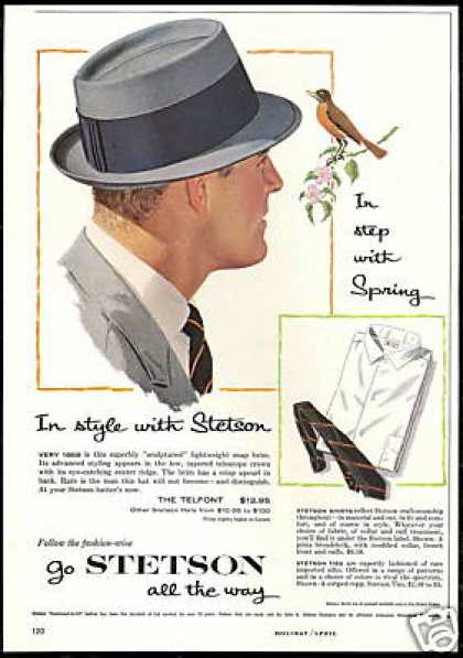 Stetson Telfont Hat Shirt Tie Fashion Vintage (1958)