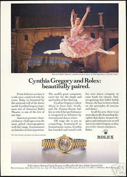 Cynthia Gregory Ballet Rolex Datejust Watch (1988)