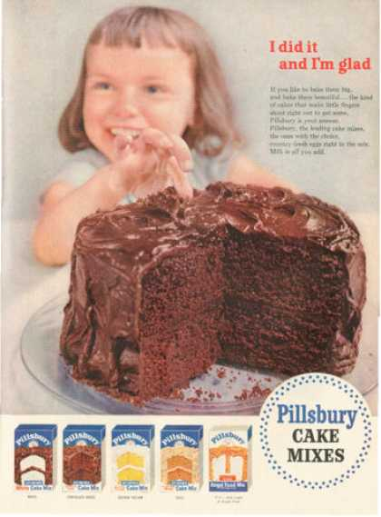 Pillsbury Cake Mixes Chocolate Fudge (1954)