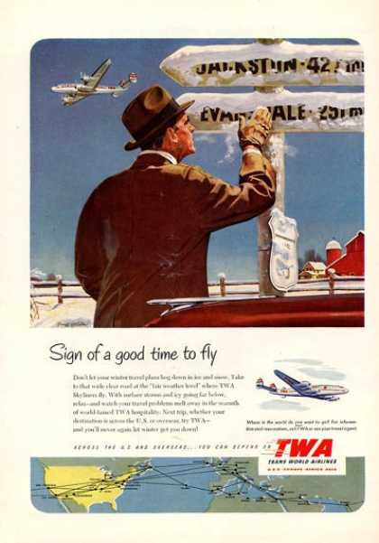 Twa Airlines Plane Sign Good Time To Fly (1952)