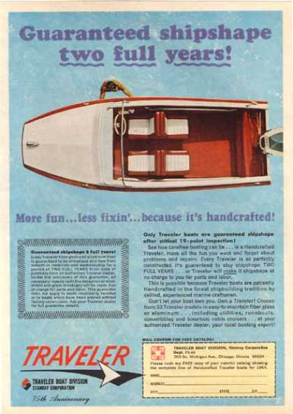 "Traveler's ""Guaranteed shipshape – two full years!"" (1964)"